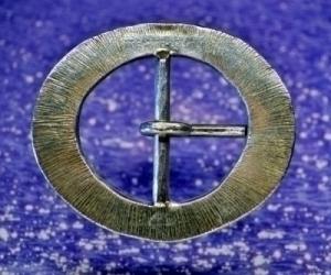 Oval Hammered Pewter Belt Buckle