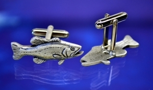 Bass Fish Cufflinks Fine Pewter