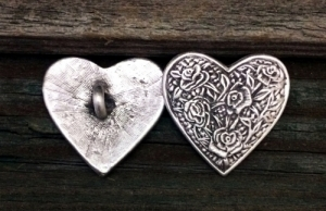 Rose Heart Shank Button 1 Inch (25 mm) Fine Pewter