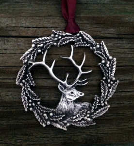 Elk Holly Wreath Christmas Ornament 119.0382