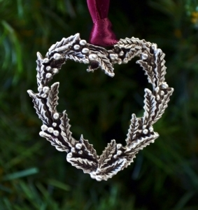 Holly Wreath Heart Ornament