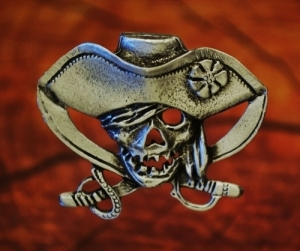 Pirate Skull and Crossed Swords pin