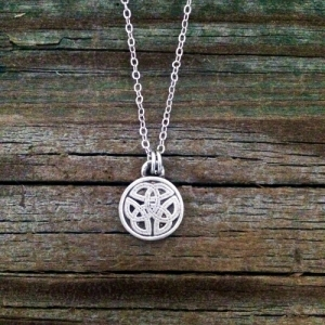 Small Round Celtic Knot Pewter Necklace