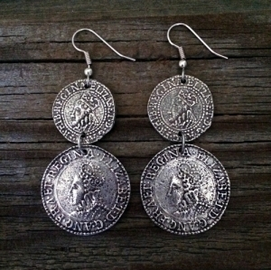 Buccaneer Elizabethan Coin Earrings
