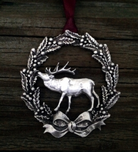 Christmas Wreath With Elk Ornament
