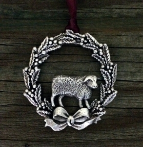 Christmas Wreath With Sheep Ornament