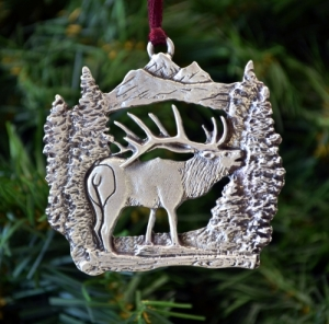 Bugling Elk Christmas Ornament
