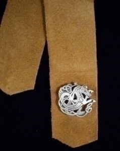 Leather Bookmark Pewter Celtic Seahorse