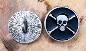 Pirate Skull and Bones Button
