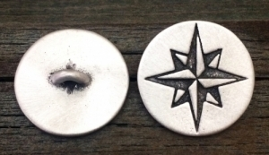 Compass Rose Star Pewter Shank Button 5/8 Inch 3/4 Inch & 1 Inch