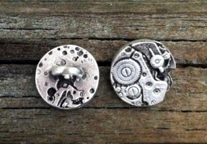 Steampunk Watch Pewter Shank Button 5/8 Inch (16 mm)