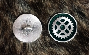 Industrial SteamPunk Gear Button with Green Resin
