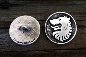 Medieval Wolf Pewter Shank Button 1 Inch (25 mm)