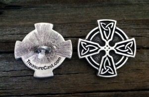 Celtic Cross Trinity Knot Shank Button 1 Inch (25 mm) Fine Pewter