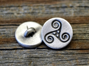 Small Celtic Triskele Pewter Shank Button 5/8 Inch (16 mm)