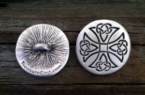 Celtic Maltese Cross Pewter Shank Button 1 Inch (25 mm)