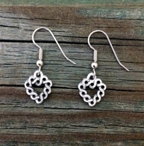 "Small Celtic Heart Pewter Earrings 1/2"" (13 mm) High x 1/2"" (13 mm) Wide"