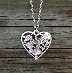 Open Rose Heart Pewter Necklace