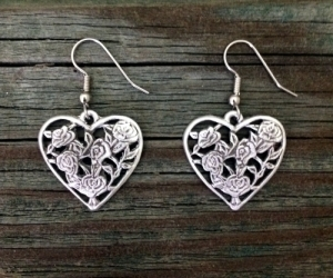 Open Rose Heart Pewter Earrings