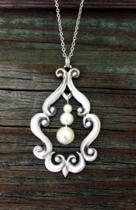 Gothic Scroll Pearl Pewter Necklace