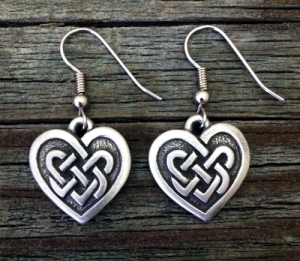 Small Celtic Knot Heart Pewter Earrings 3/4 Inch (19 mm) x 3/4 Inch (19 mm)