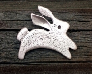 Leaping Rabbit Pewter Pin 1 1/4 Inch (32 mm)