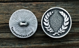 Laurel Wreath Pewter Shank Button 5/8 Inch (16 mm) 3/4 Inch (19 mm) 1 Inch (25 mm)