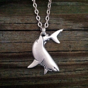 Great White Shark Pewter Necklace