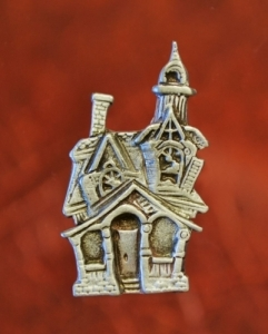 Halloween Haunted House Pin Fine Pewter