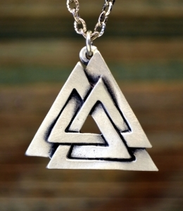 Medieval//Norse//Handcrafted Viking Valknut Pewter Concho