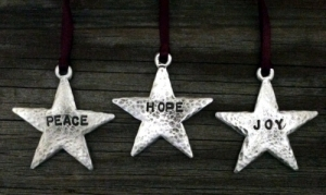 Rustic Star Peace Hope Joy Christmas Ornament Set
