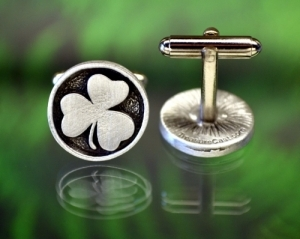 Shamrock Cufflinks Fine Pewter