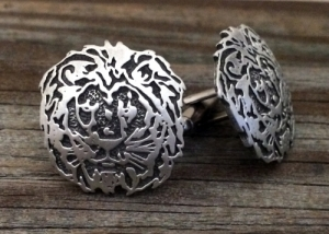 Lion Cufflinks Fine Pewter